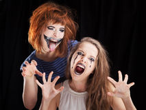 Halloween face art on black background Stock Images