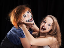 Halloween face art on black background Stock Photography