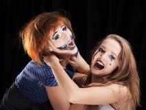 Halloween face art on black background Stock Photography