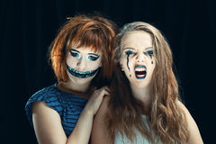 Halloween face art on black background Royalty Free Stock Images