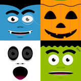 Halloween Faces. A set of four cute halloween character faces Stock Photos