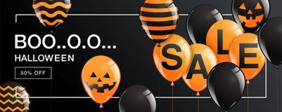 Halloween-Fahne, Geist, furchtsam, gespenstisch, Luftballone, Schablone Lizenzfreies Stockfoto