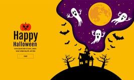 Halloween-Fahne mit Halloween-Geist-Ballonen Furchtsame Luftballone Website gespenstisch oder Fahnenschablone Stockfotografie