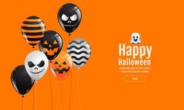 Halloween-Fahne mit Halloween-Geist-Ballonen Furchtsame Luftballone Website gespenstisch oder Fahnenschablone Lizenzfreies Stockbild