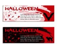 Halloween-Fahnen, -plakat oder -karten mit Aquarellen und Blutstropfen Stockbilder