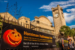 Halloween Fair at the Horniman Museum. Banner advertising Halloween Fair to take place at Horninian Museum in Forrest Hill in London Royalty Free Stock Images