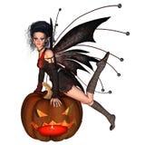 Halloween Fairy - 2. Digital render of a Halloween fairy leaning on a pumpkin lantern stock illustration
