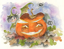 Halloween fairy elf and jack-o-lantern Stock Images