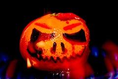 Halloween falso ha disegnato la zucca su fuoco Fotografia Stock Libera da Diritti