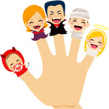 Halloween Family Hand. Cute finger puppets family wearing Halloween costume on hand Royalty Free Stock Photos