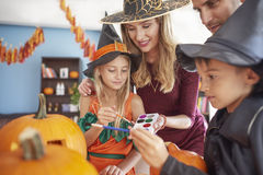 Halloween with family royalty free stock photo
