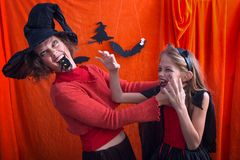 Halloween in a family Stock Photos