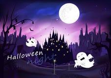 Halloween, fantasmagórico en el camino con el castillo, cartel de la escena de la noche de la silueta del milagro de la fantasía, ilustración del vector