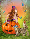 Halloween Fantasy illustration.The beautiful witch with pumpkin and cats. Autumn nature Royalty Free Stock Photography