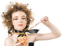 Halloween Fashion. Young Teen styled for Halloween with decorations in hair Stock Photo