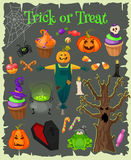 Halloween fashion flat icons  on brounbackground. Royalty Free Stock Image