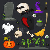 Halloween fashion flat icons isolated on brounbackground. Halloween vector characters. Pumpkin,ghost and witch Stock Images