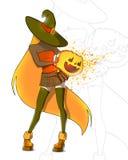 Halloween fashion girl with the pumpkin Stock Photos