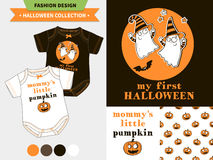 Halloween fashion set. Halloween fashion set for babies and kids, vector artworks and seamless patterns with cartoon funny pumpkin, ghosts, vampire bats, stars Stock Images