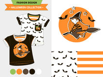 Halloween fashion set. Halloween fashion set for babies and kids, vector artworks and seamless patterns with cartoon funny pumpkin, ghosts, vampire bats, stars Stock Photo