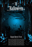 Halloween Fear Horror Party Background. For flyers or posters stock illustration