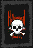 Halloween Feast. Illustration Black Poster for Halloween with Skulls and Bones Royalty Free Stock Photo