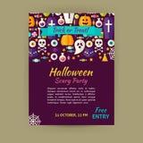 Halloween-Feiertags-Vektor-Schablonen-Fahnen-Flieger-moderne flache Art Lizenzfreies Stockbild