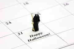 Halloween felice ad una data di calendario Fotografia Stock
