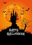 Halloween felice, castello frequentato al tramonto, illustrazione di vettore Immagini Stock Libere da Diritti