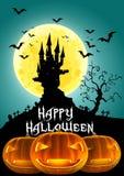 Halloween felice, castello frequentato e lanterna di Jack O dell'illustrazione 3D Immagini Stock