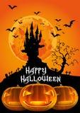 Halloween felice, castello frequentato e lanterna di Jack O dell'illustrazione 3D Fotografia Stock