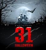 Halloween felice che viene presto, messaggio rosso illustrazione vettoriale
