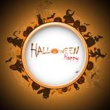 Halloween felice con il devildom in nebbia Fotografia Stock Libera da Diritti