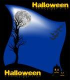 Halloween felice con la luna Fotografia Stock