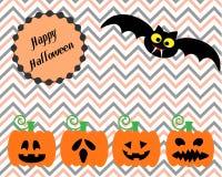 Halloween felice con le zucche sveglie del cutie e di Male illustrazione vettoriale