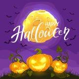Halloween felice e zucche sul fondo di notte con la luna e la B Fotografia Stock Libera da Diritti