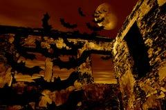 Halloween felice. I blocchi stanno volando sopra la vecchia rovina royalty illustrazione gratis