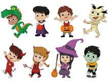 Halloween felice Insieme dei bambini svegli del fumetto in santo variopinto Fotografia Stock