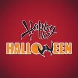 Halloween felice Iscrizione su un fondo rosso illustrazione vettoriale
