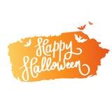 Halloween felice La calligrafia di tendenza Illustrazione con i pipistrelli arancio sull'inchiostro della spazzola Illustrazione di Stock