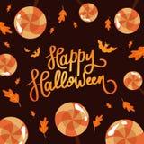 Halloween felice La calligrafia di tendenza Illustrazione con le lecca-lecca ed i pipistrelli arancio Illustrazione Vettoriale