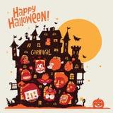 Halloween felice! Partito di Halloween in vecchio castello ed i caratteri in costumi di carnevale Immagine Stock