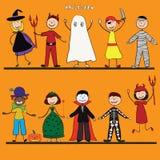 Halloween felice Piccoli bambini divertenti in costumi variopinti Illustrazione di vettore icona Immagini Stock Libere da Diritti