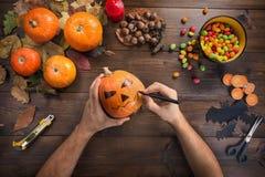 Halloween felice! Preparando per la festa fotografie stock