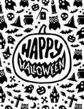 Halloween felice Progettazione spaventosa dell'insegna di vettore Fotografia Stock