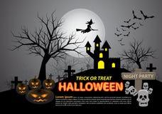Halloween felice sul vettore grigio di festival di celebrazione di festa del partito di notte della luce di luna Fotografia Stock