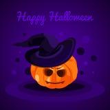 Halloween feliz Abóbora má com chapéu da bruxa Abóbora cinzelada de Halloween O feriado, abóboras Ilustração do vetor para a cele Fotografia de Stock Royalty Free