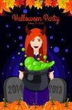 Halloween feliz Cartaz, cartão para Dia das Bruxas Bruxa bonita, bruxas caldeirão, chapéu da bruxa, poção, abóbora Fotos de Stock Royalty Free