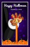 Halloween feliz Cartaz, cartão para Dia das Bruxas O feriado, mão das bruxas, poção, mágica, abóboras da colheita Fotografia de Stock