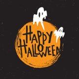Halloween feliz Cartaz da rotulação da mão Ilustração do vetor ilustração royalty free